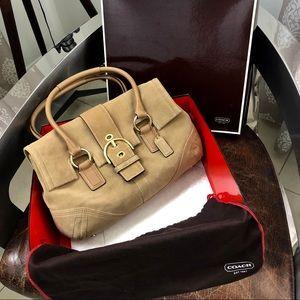 Coach tan suede leather buckle flap satchel bag